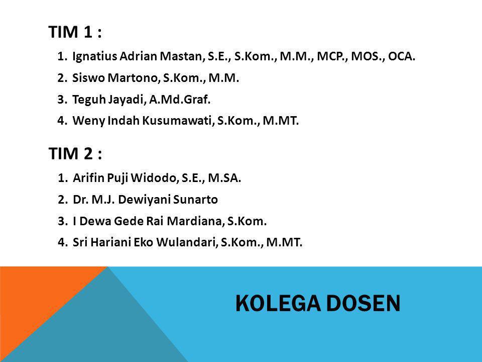 TIM 1 : Ignatius Adrian Mastan, S.E., S.Kom., M.M., MCP., MOS., OCA. Siswo Martono, S.Kom., M.M.