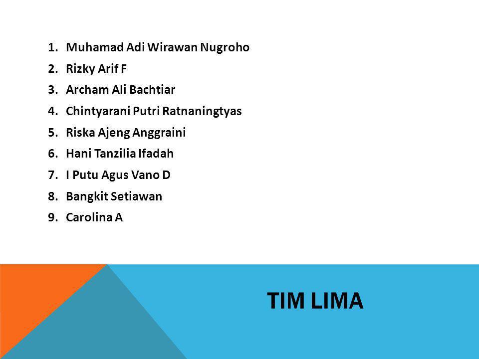 TIM LIMA Muhamad Adi Wirawan Nugroho Rizky Arif F Archam Ali Bachtiar