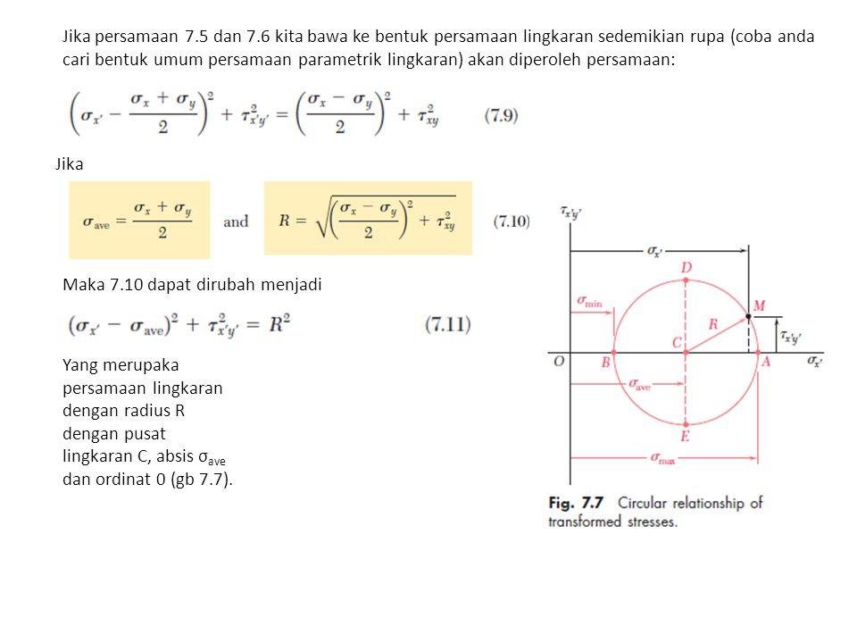 Jika persamaan 7.5 dan 7.6 kita bawa ke bentuk persamaan lingkaran sedemikian rupa (coba anda cari bentuk umum persamaan parametrik lingkaran) akan diperoleh persamaan: