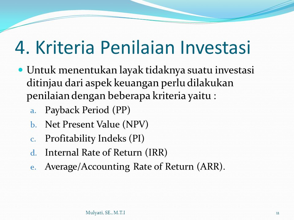 4. Kriteria Penilaian Investasi