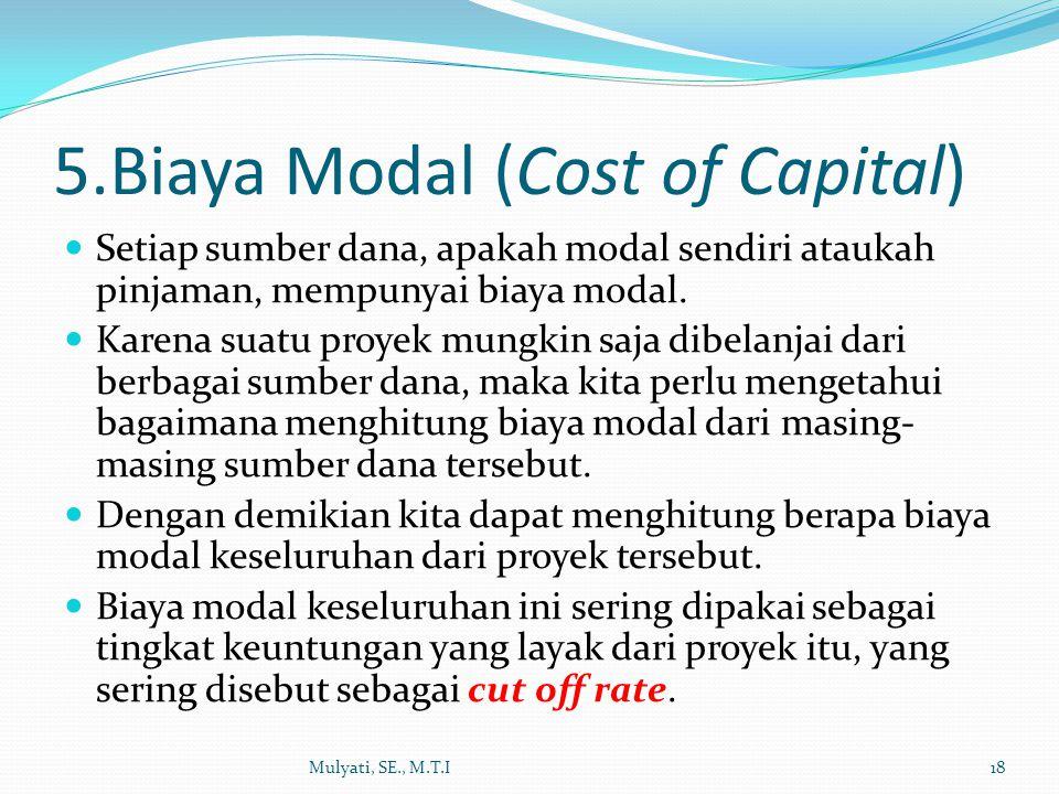 5.Biaya Modal (Cost of Capital)