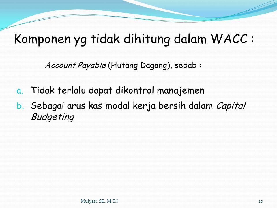 Komponen yg tidak dihitung dalam WACC :