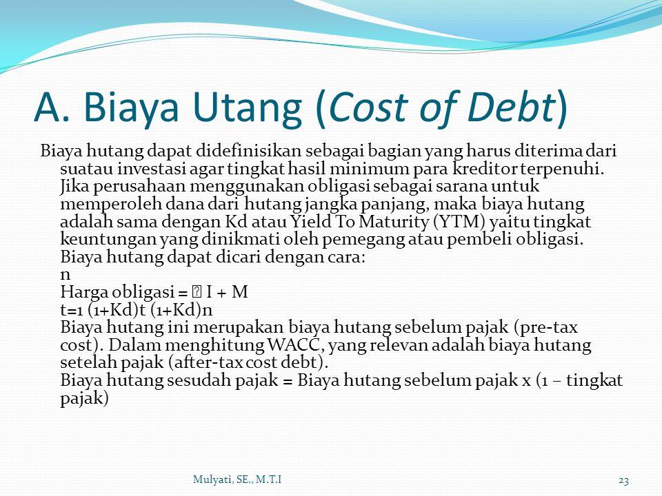 A. Biaya Utang (Cost of Debt)