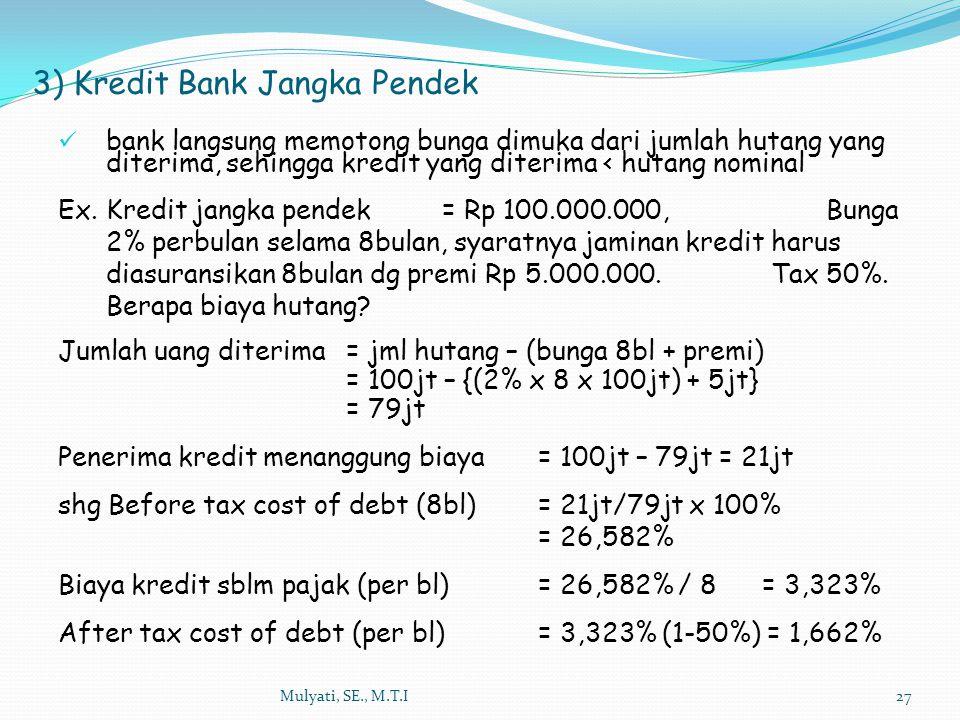 3) Kredit Bank Jangka Pendek