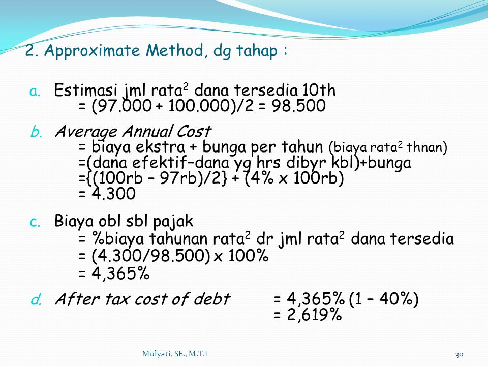 2. Approximate Method, dg tahap :