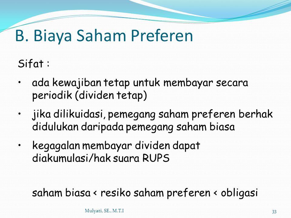 B. Biaya Saham Preferen