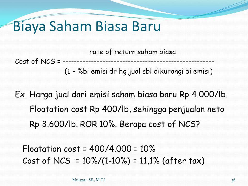 Biaya Saham Biasa Baru rate of return saham biasa
