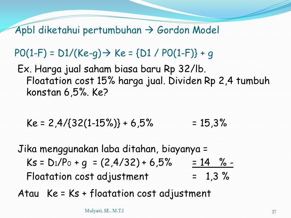 Apbl diketahui pertumbuhan  Gordon Model P0(1-F) = D1/(Ke-g)