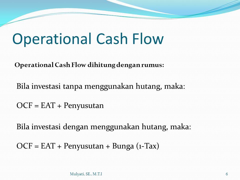 Operational Cash Flow Bila investasi tanpa menggunakan hutang, maka: