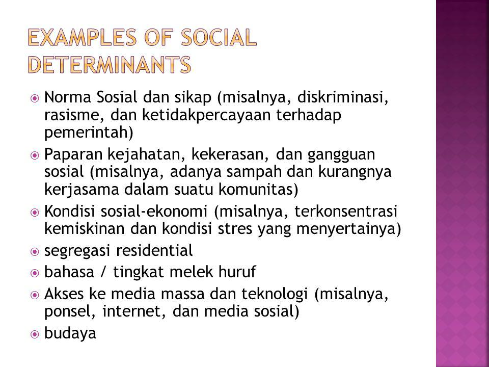 Examples of social determinants