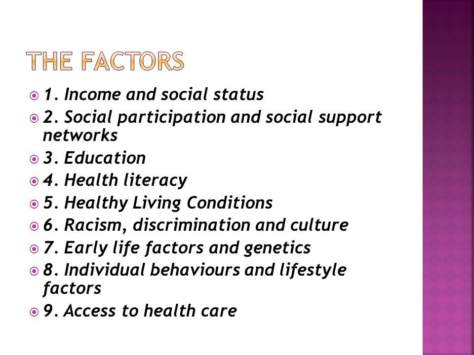 The Factors 1. Income and social status