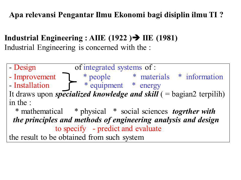 Apa relevansi Pengantar Ilmu Ekonomi bagi disiplin ilmu TI