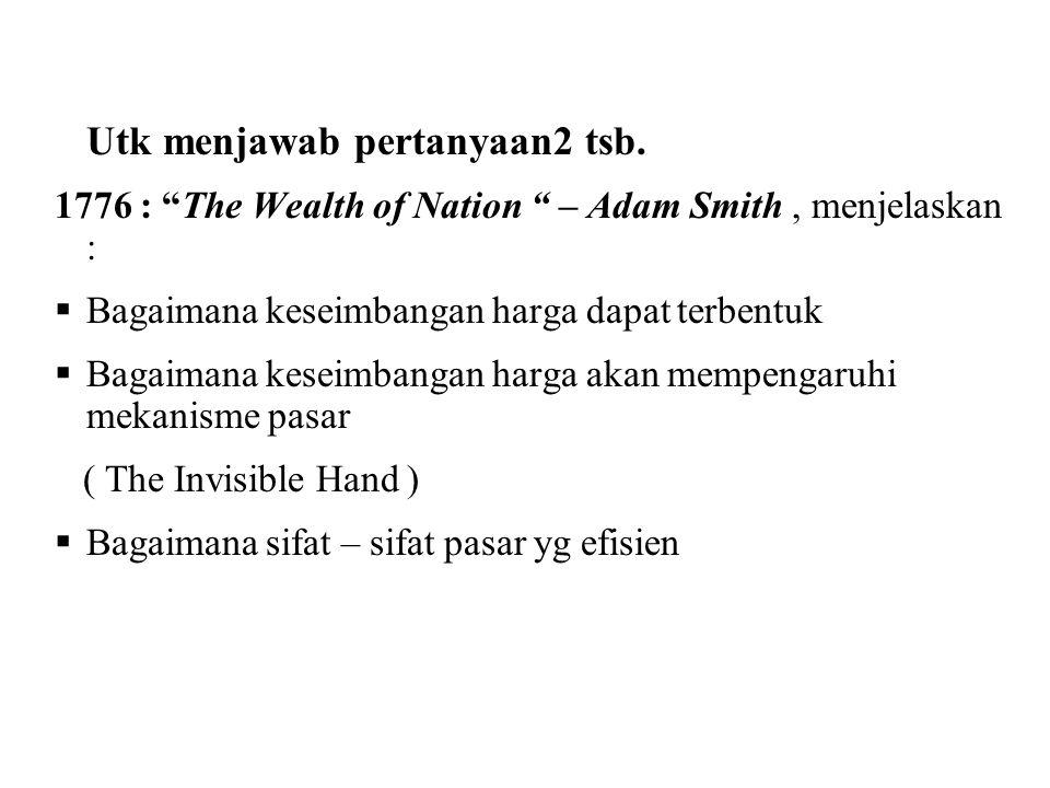 1776 : The Wealth of Nation – Adam Smith , menjelaskan :