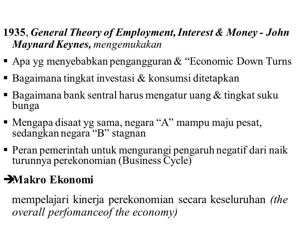 1935, General Theory of Employment, Interest & Money - John Maynard Keynes, mengemukakan