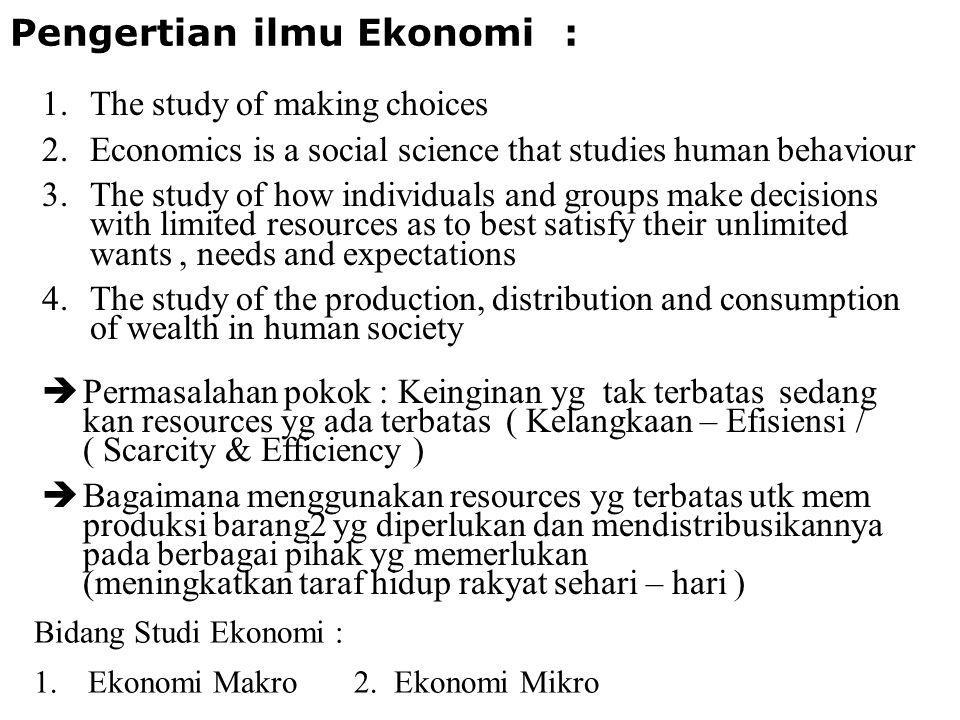 Pengertian ilmu Ekonomi :