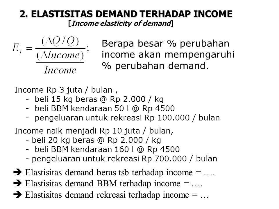2. ELASTISITAS DEMAND TERHADAP INCOME