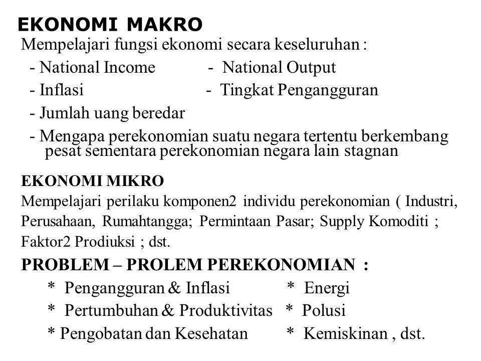EKONOMI MAKRO Mempelajari fungsi ekonomi secara keseluruhan :