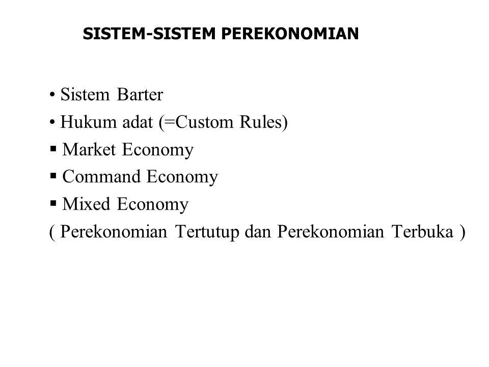 Hukum adat (=Custom Rules) Market Economy Command Economy