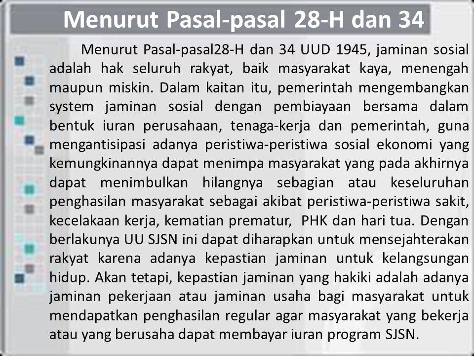 Menurut Pasal-pasal 28-H dan 34