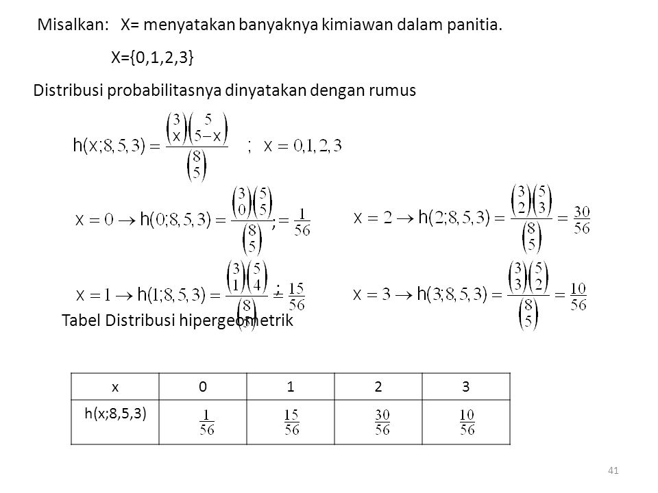 Misalkan: X= menyatakan banyaknya kimiawan dalam panitia. X={0,1,2,3}