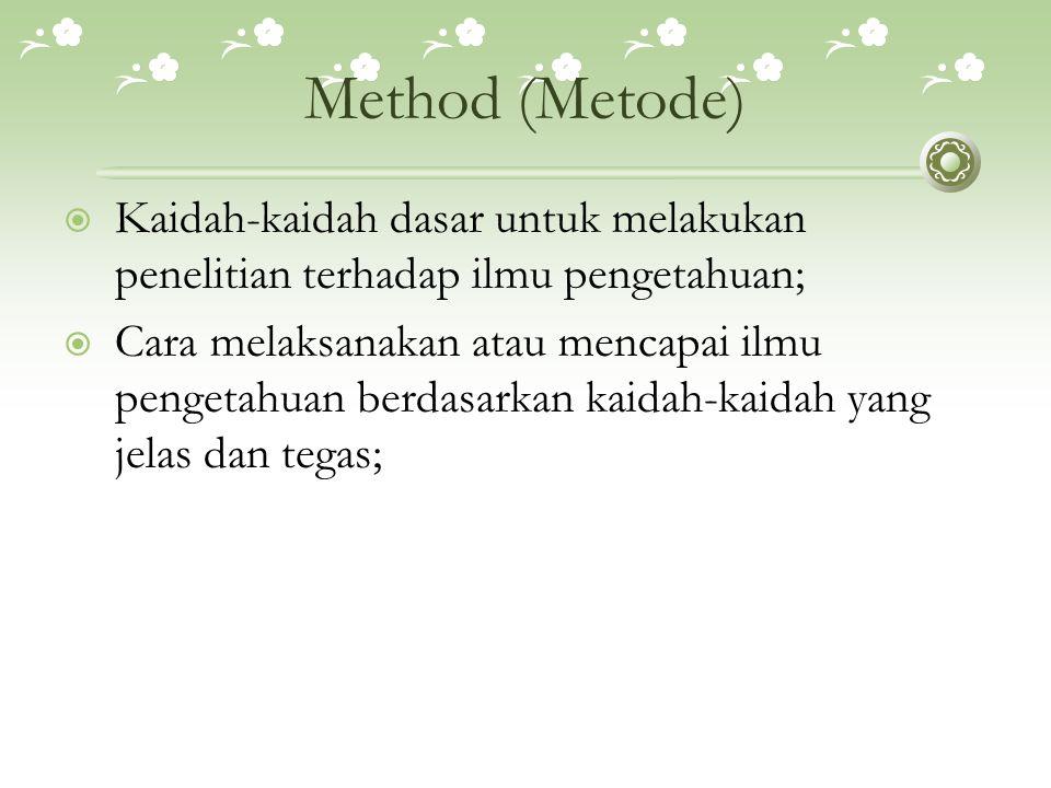 Method (Metode) Kaidah-kaidah dasar untuk melakukan penelitian terhadap ilmu pengetahuan;