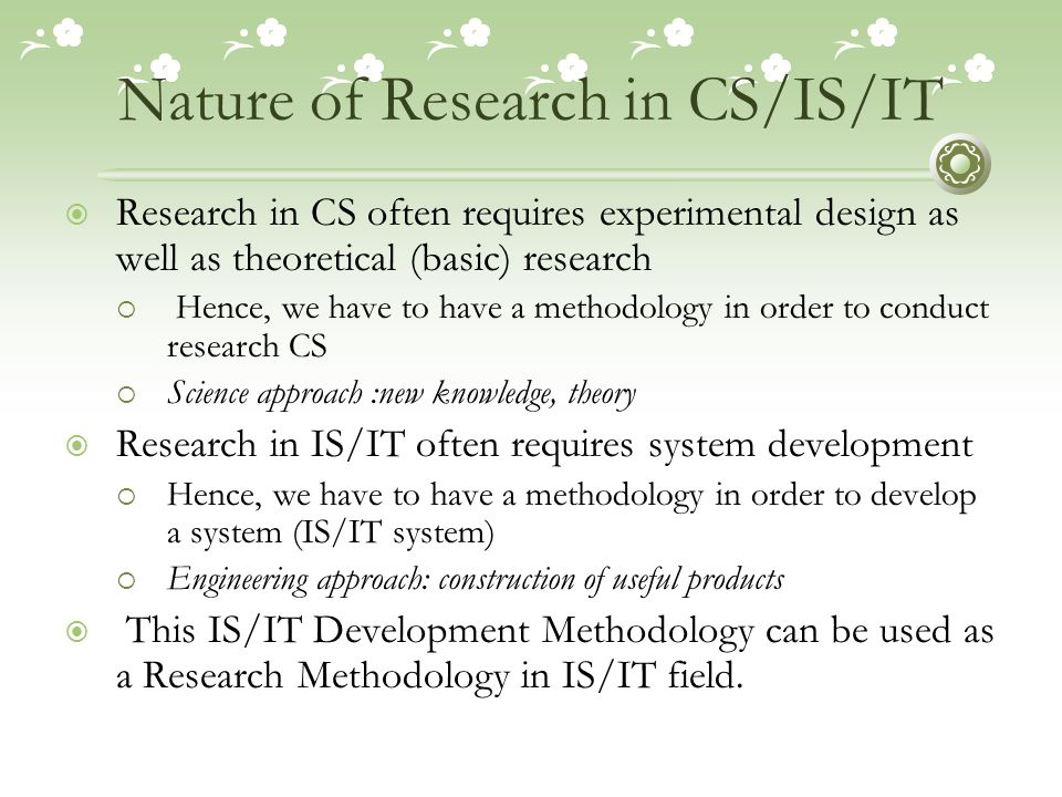 Nature of Research in CS/IS/IT