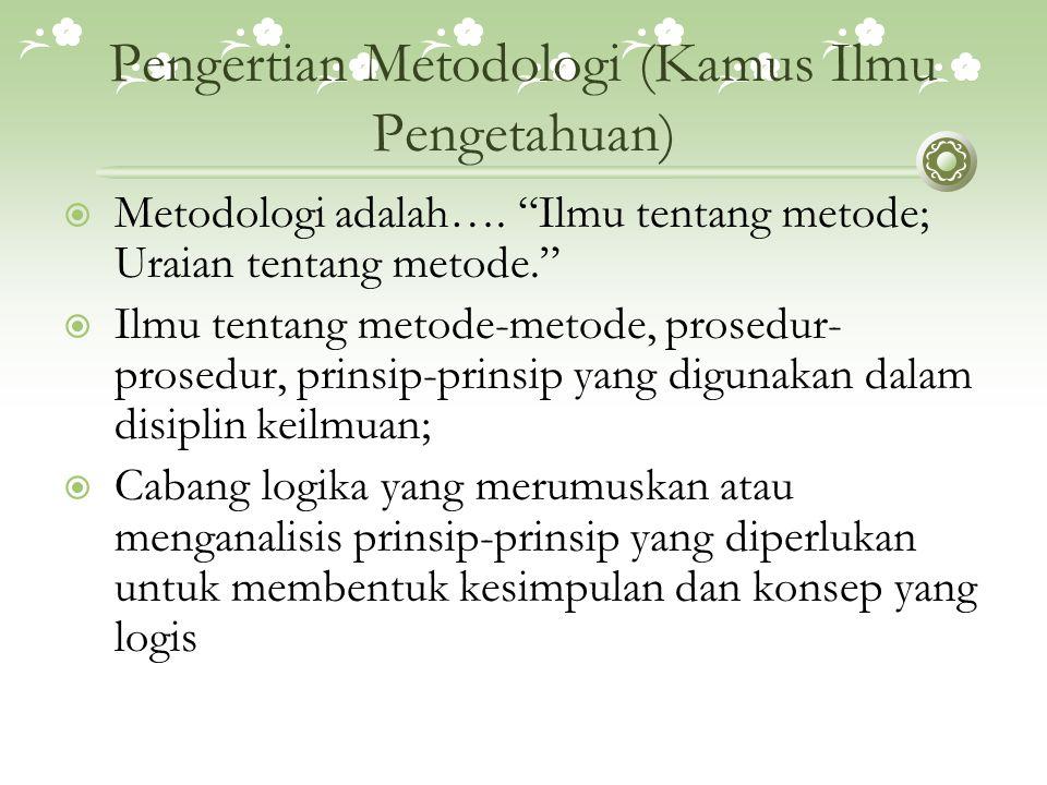 Pengertian Metodologi (Kamus Ilmu Pengetahuan)