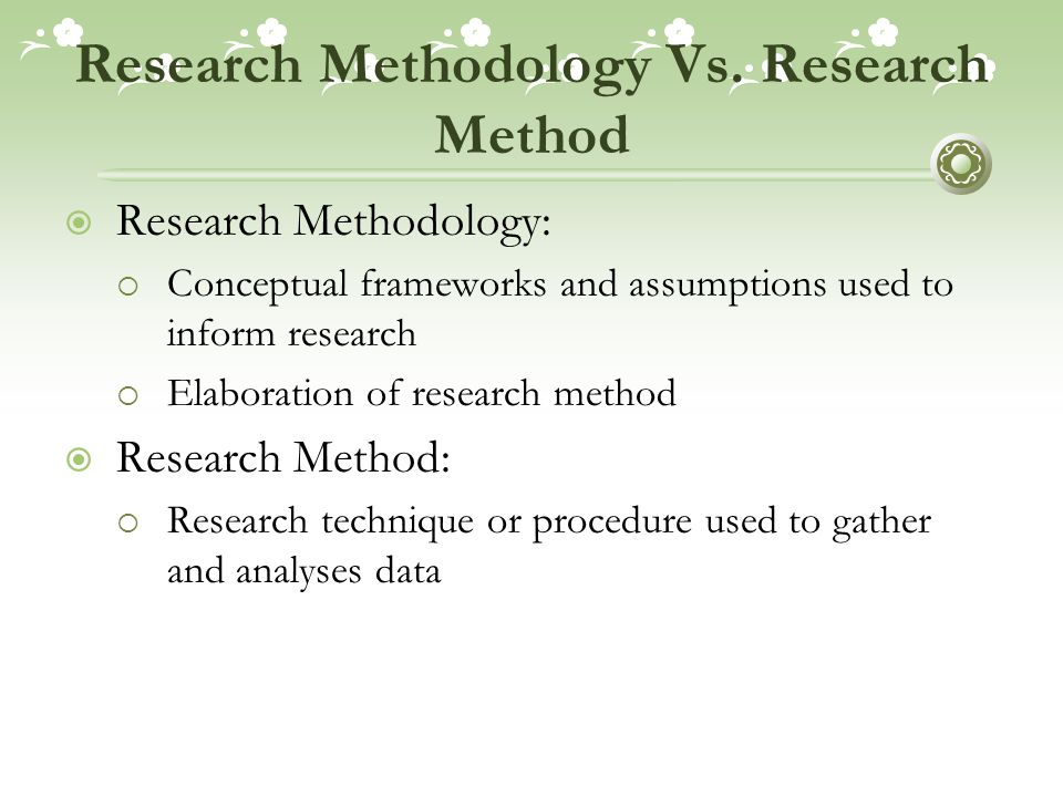 Research Methodology Vs. Research Method