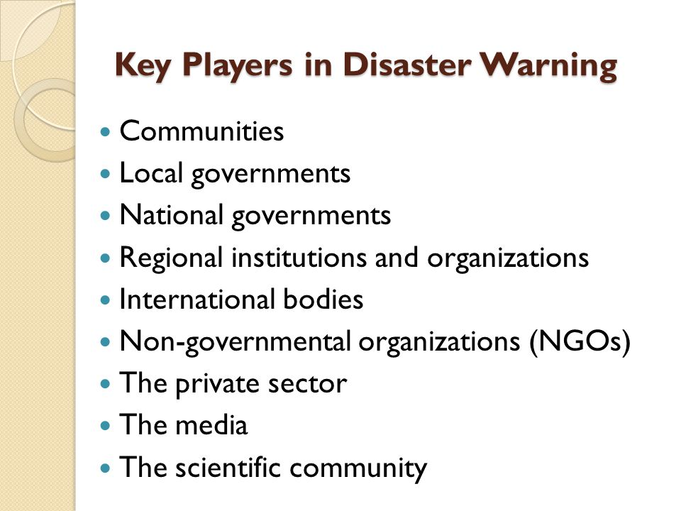 Key Players in Disaster Warning