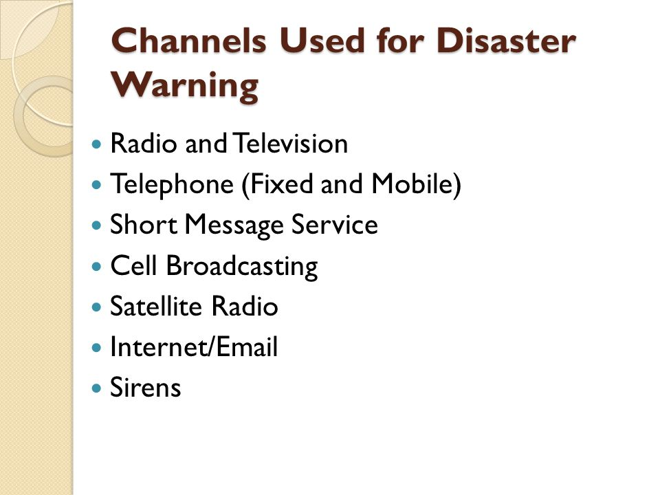 Channels Used for Disaster Warning