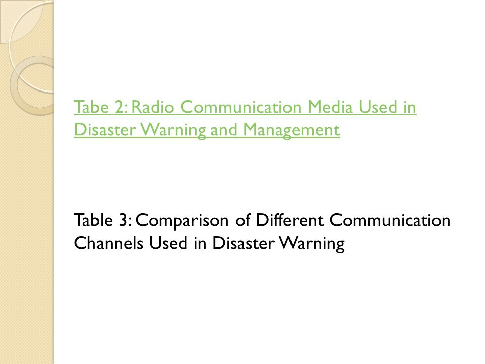 Tabe 2: Radio Communication Media Used in Disaster Warning and Management Table 3: Comparison of Different Communication Channels Used in Disaster Warning