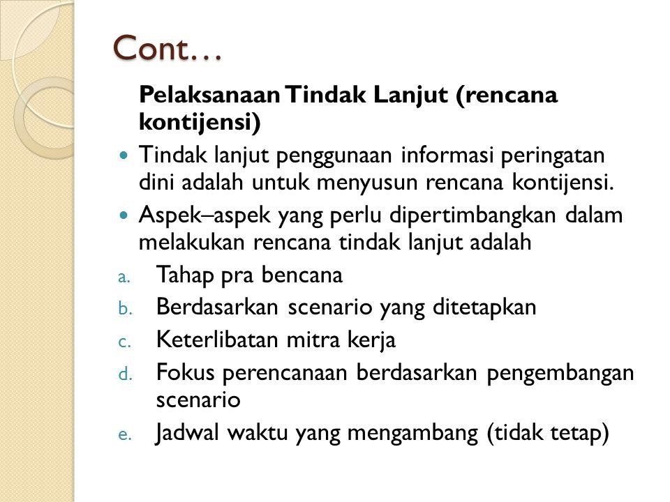 Cont… Pelaksanaan Tindak Lanjut (rencana kontijensi)