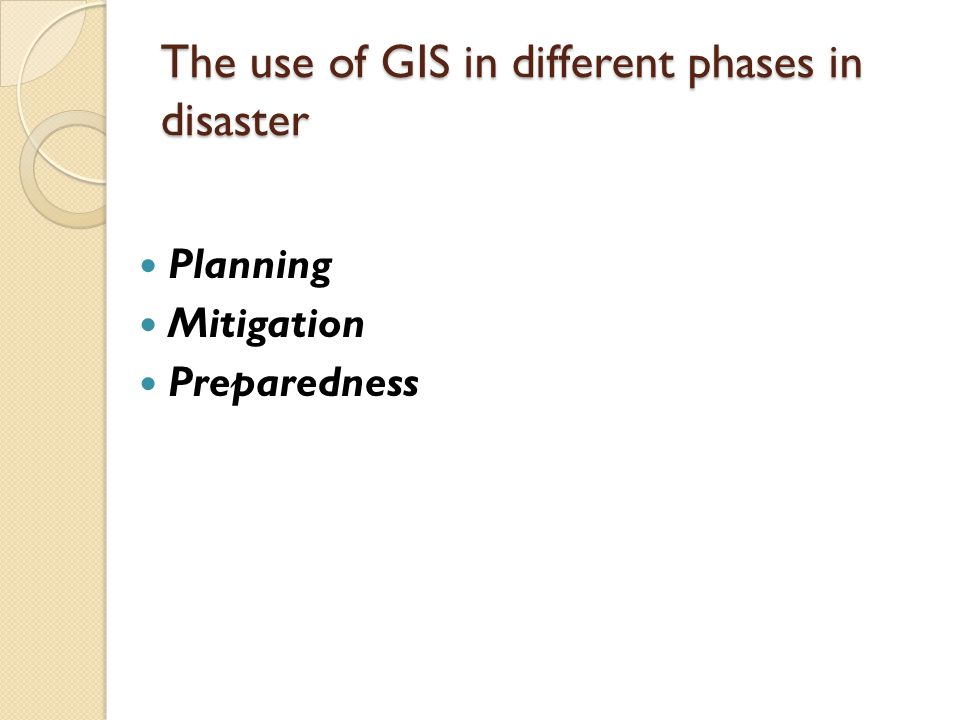 The use of GIS in different phases in disaster