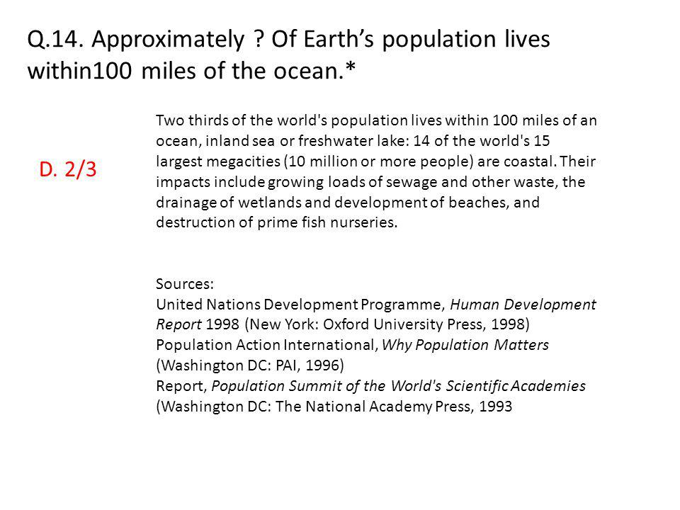 Q.14. Approximately Of Earth's population lives within100 miles of the ocean.*