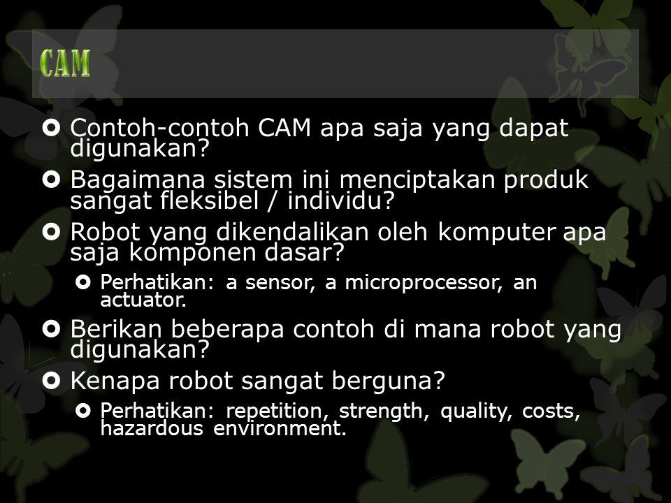CAM Contoh-contoh CAM apa saja yang dapat digunakan