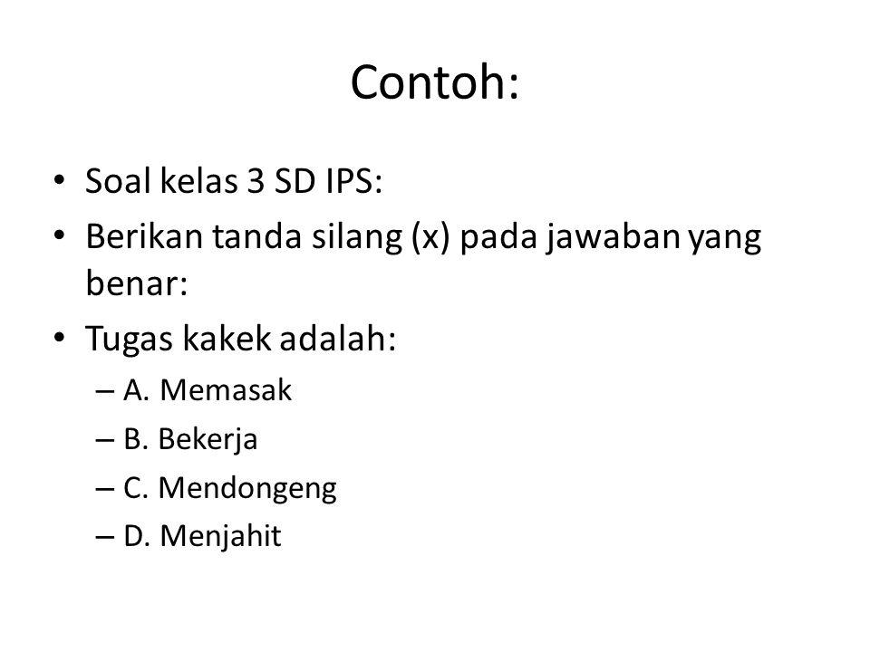 Contoh: Soal kelas 3 SD IPS: