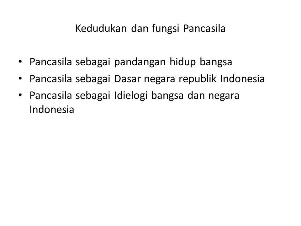 Kedudukan dan fungsi Pancasila