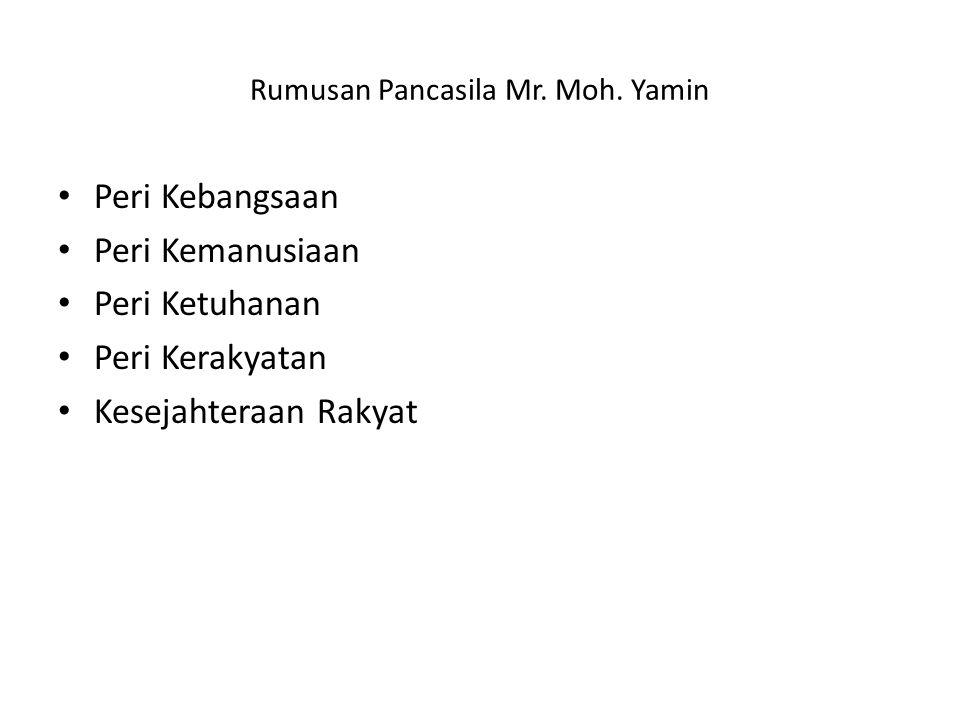 Rumusan Pancasila Mr. Moh. Yamin