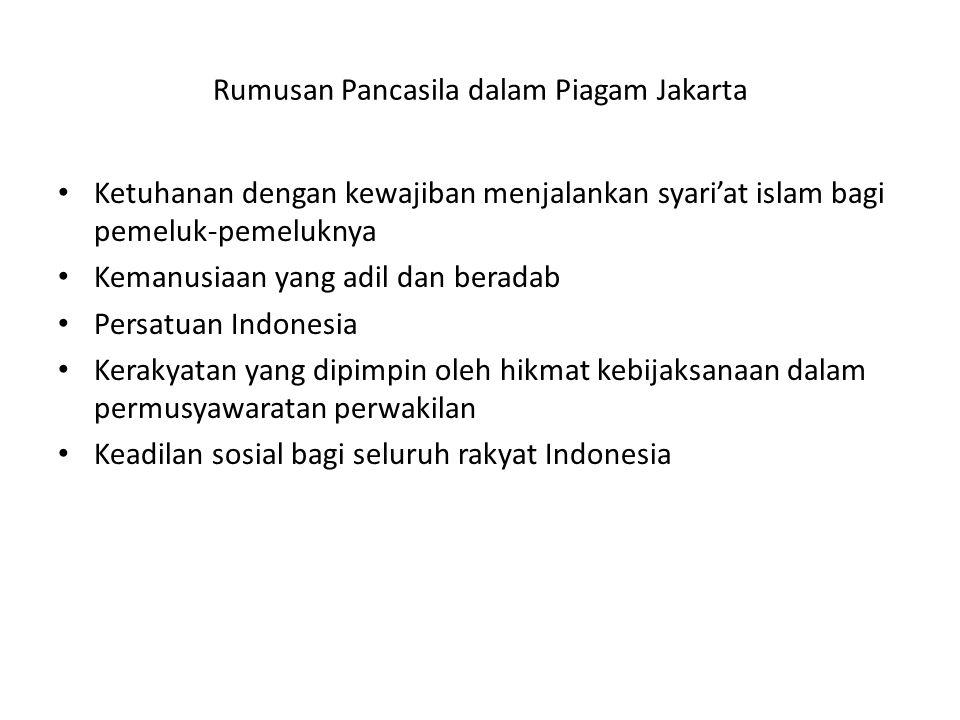 Rumusan Pancasila dalam Piagam Jakarta