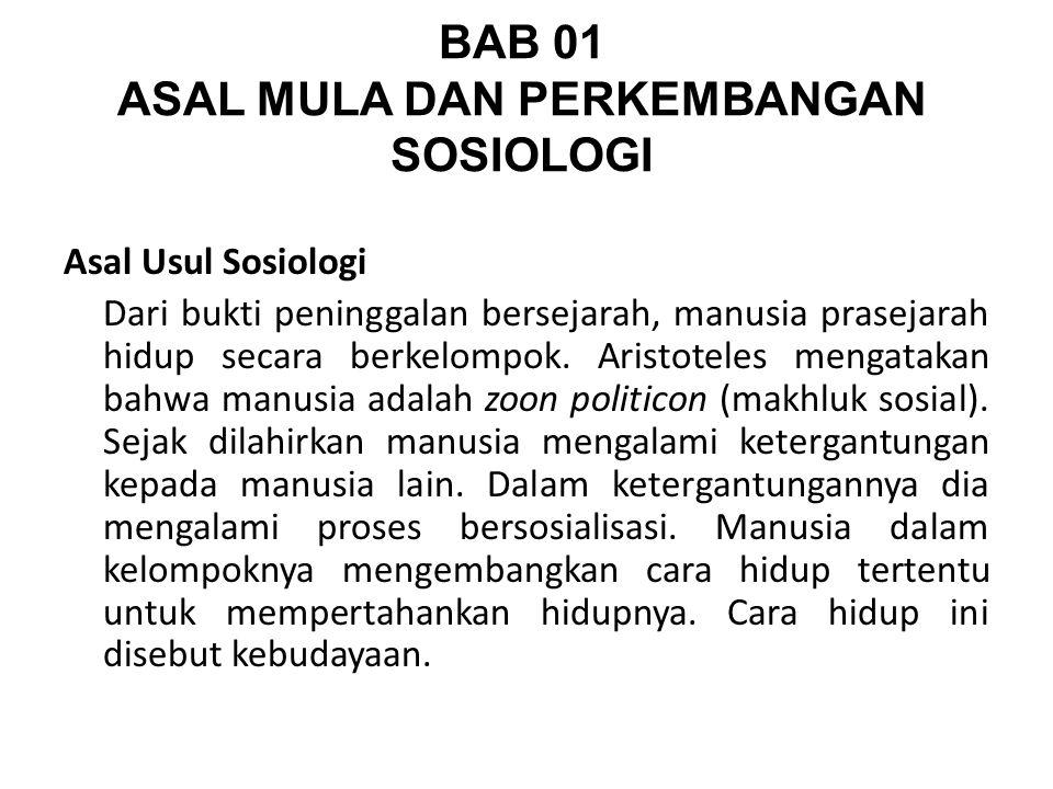 BAB 01 ASAL MULA DAN PERKEMBANGAN SOSIOLOGI