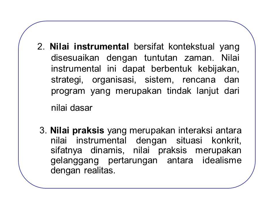 2. Nilai instrumental bersifat kontekstual yang disesuaikan dengan tuntutan zaman. Nilai instrumental ini dapat berbentuk kebijakan, strategi, organisasi, sistem, rencana dan program yang merupakan tindak lanjut dari nilai dasar