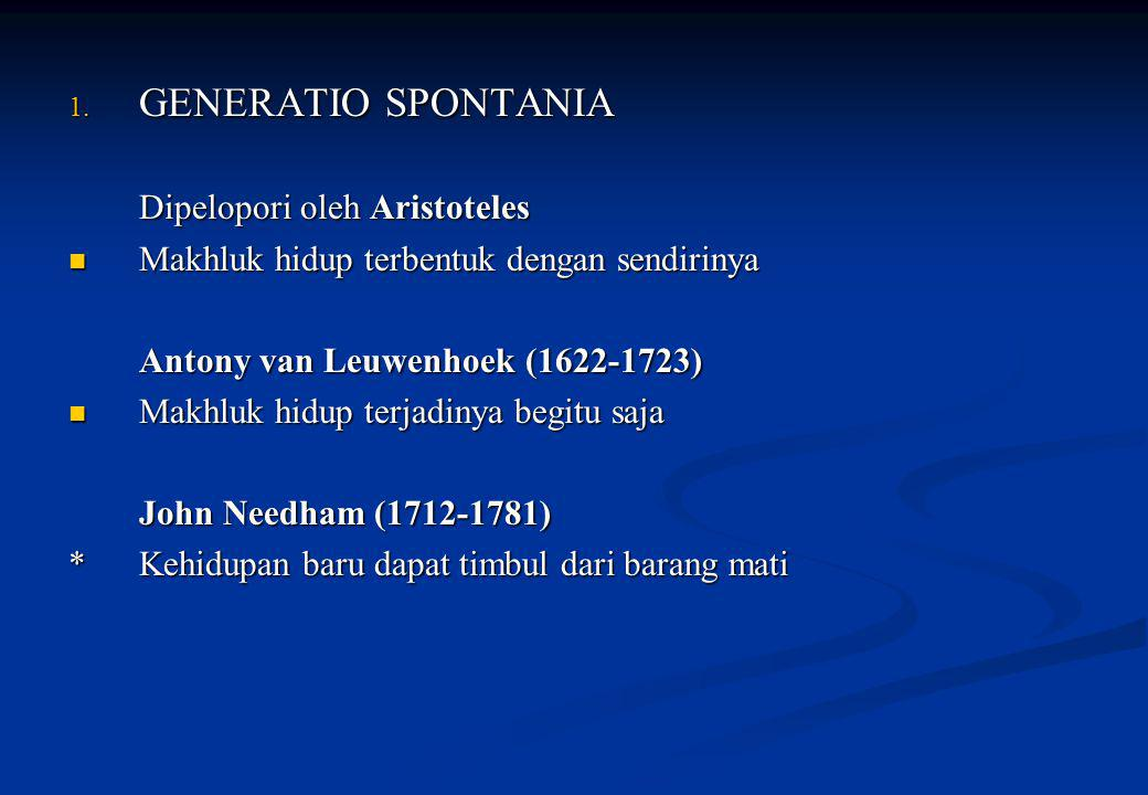 GENERATIO SPONTANIA Dipelopori oleh Aristoteles