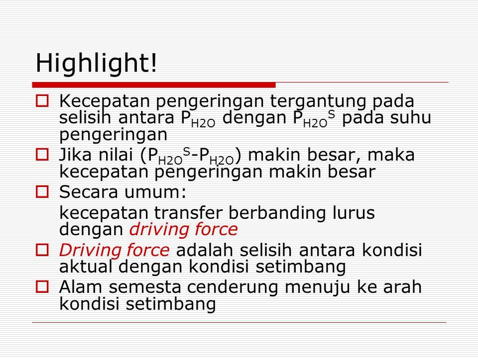 Highlight! Kecepatan pengeringan tergantung pada selisih antara PH2O dengan PH2OS pada suhu pengeringan.