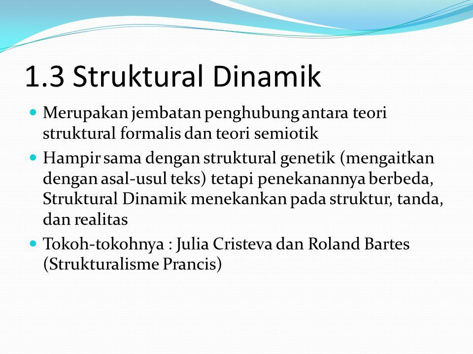 1.3 Struktural Dinamik Merupakan jembatan penghubung antara teori struktural formalis dan teori semiotik.