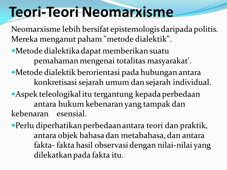 Teori-Teori Neomarxisme