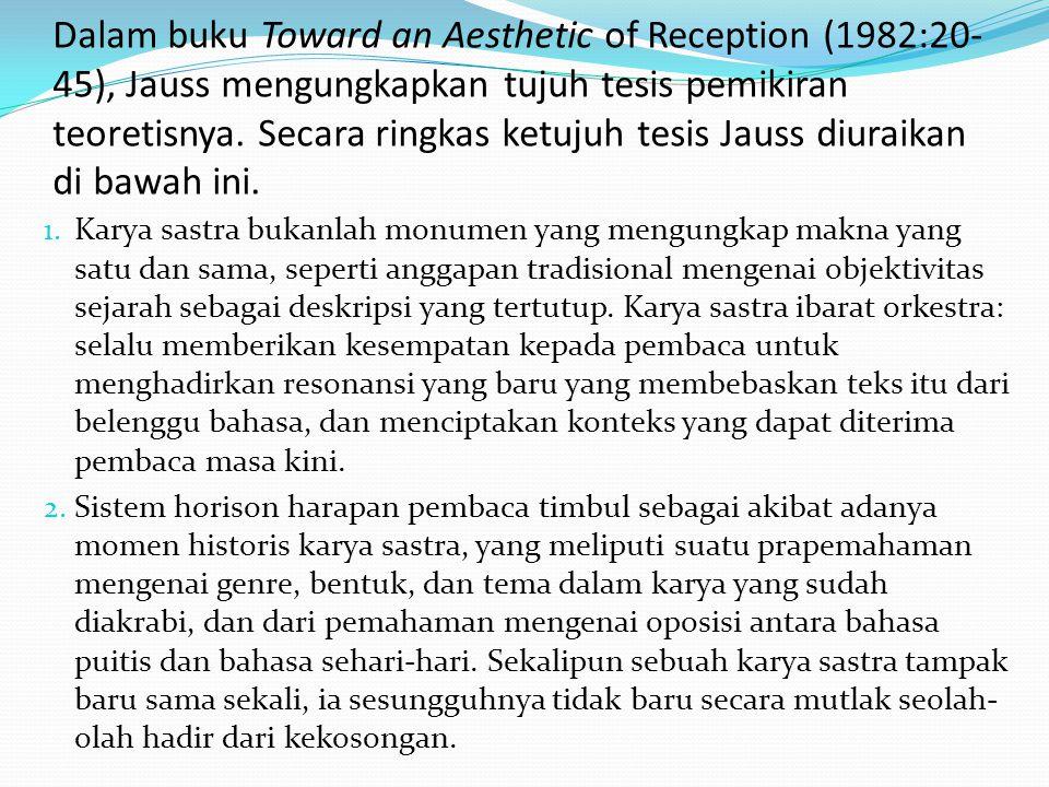 Dalam buku Toward an Aesthetic of Reception (1982:20-45), Jauss mengungkapkan tujuh tesis pemikiran teoretisnya. Secara ringkas ketujuh tesis Jauss diuraikan di bawah ini.