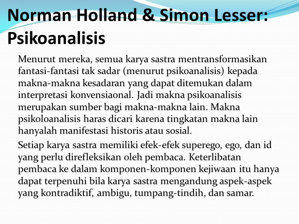 Norman Holland & Simon Lesser: Psikoanalisis