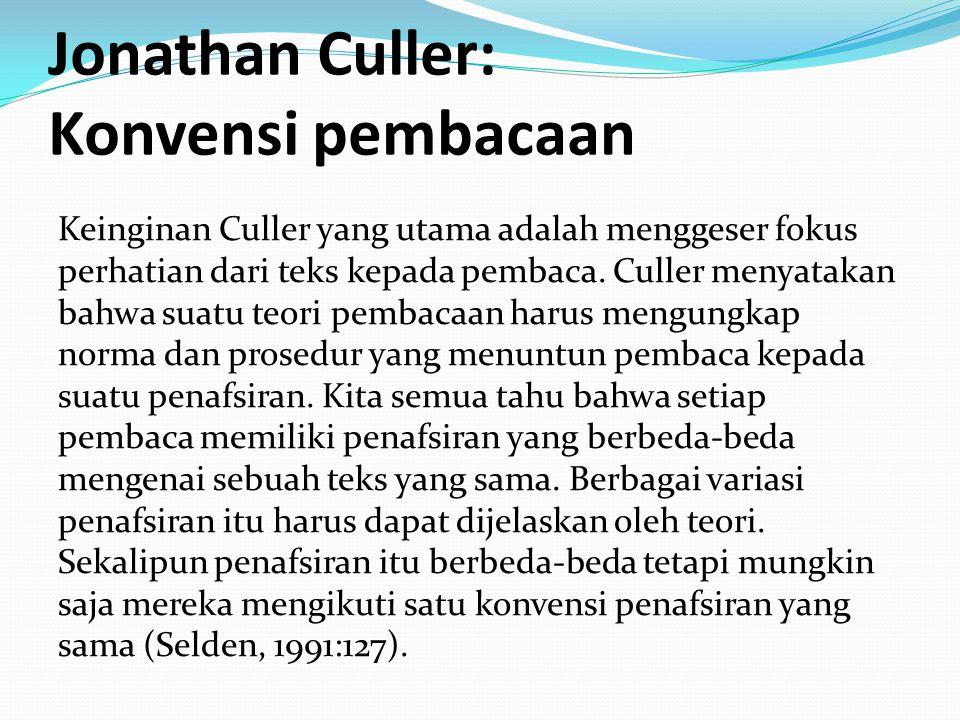 Jonathan Culler: Konvensi pembacaan