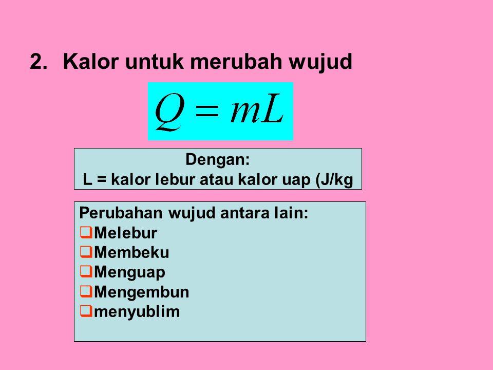 L = kalor lebur atau kalor uap (J/kg