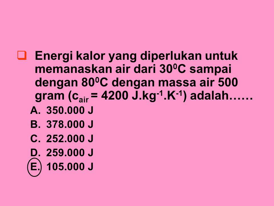 Energi kalor yang diperlukan untuk memanaskan air dari 300C sampai dengan 800C dengan massa air 500 gram (cair = 4200 J.kg-1.K-1) adalah……